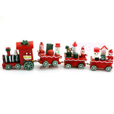 New Charming Cute 4 Piece Wooden Christmas Santa Tree Train Ornament Decor Gift