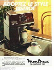 PUBLICITE ADVERTISING 106  1983  la machine à café style bistrot  Moulinex