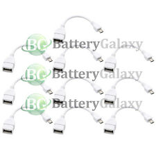 10 White USB Micro B to A Adapter Converter OTG Cable for Samsung Galaxy S6/Edge