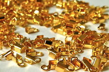 Short flat Fold Over Crimps  5mm  Gold Plated WITH EYE  250 pieces  MPC0053