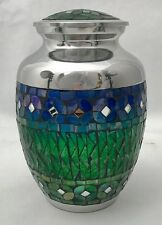 BLUE AND GREEN MOSAIC CREMATION URNS, MEMORIAL PET OR HUMAN FUNERAL URN-140 LBS