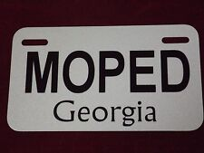REFLECTIVE Georgia Aluminum Moped Scooter License Plate Tag  -  METAL