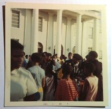 Vintage 60s Square Photo Group Of Kids Huddled Around School In The Bahamas