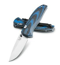 Benchmade 665 Plain Edge Satin Silver Blade/ Blue and Black G10 Handles