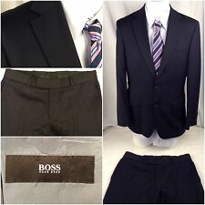 Hugo Boss Suit 40R Black Turkey Super 100 Wool 2btn 35x32 Flat Cuff M4U BL212