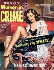 Women in Crime Pulp Magazine Fridge Magnet 2 x 3
