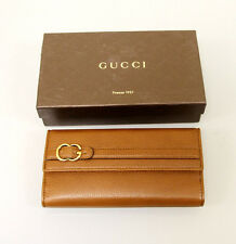 New Authentic GUCCI Leather Clutch Continental WALLET w/Coin Pocket Brown 270002