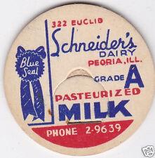 MILK BOTTLE CAP. SCHNEIDER'S DAIRY. PEORIA, IL.