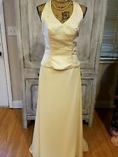 alfred angelo braidsmaid gown skirt/halter set bling NWT butter Sz 10 2pcs
