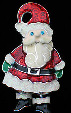"HAPPY FUN BLUE EYES MERRY CHRISTMAS SANTA CLAUS ELF PIN BROOCH 2"" DANGLING BOOTS"