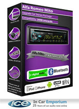 Alfa Romeo Mito DAB radio, Pioneer stereo CD USB AUX player, Bluetooth handsfree