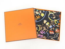 MNT Auth HERMES Scarf CARRE Flower Bird 100% Silk Black France 40130328600 J16BX