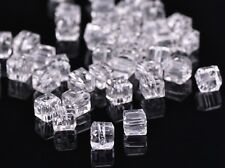 30pcs 6mm Cube Square Faceted Crystal Glass Charms Loose Spacer  Beads Clear