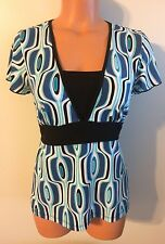 •• Women's AB Studio Size Small Blouse SS Shirt Stretch Tie Back Top Nice! 2