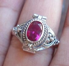 925 Sterling Silver-Balinese Poison Locket Ring With Ruby Cut Size 9-PR02