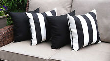 Solar Black and Finnigan Black and White Deck Stripe Outdoor Throw Pillow - 4 Pk