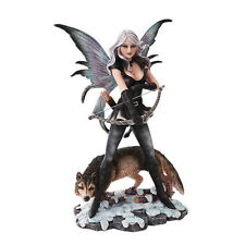 HUNTRESS BOW AND ARROW FAIRY WOLF SCULPTURE FIGURINE LEGEND OF MYSTERIA FOREST