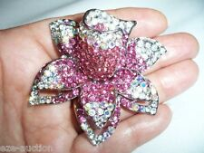SWAROVSKI ELEMENTS CRYSTAL FUCHSIA ORCHID FLOWER BROOCH PIN