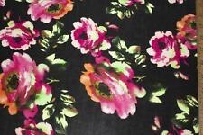 Black Pinks Floral ITY Print #32 Stretch Polyester Lycra Spandex Fabric BTY