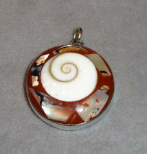 Shiva Shell Inlay~Brown & White~Set in 925 Sterling Silver Bezel Pendant~Kate M.