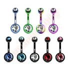 Titanium Anodized Double Jewelled Belly Navel Bar Ring Body Jewellery