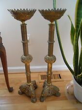 2 Antique Vintage Brass Candle Holder Catholic Church Candlestick Gothic Style