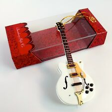"""ORNAMENT - 5"""" White HOLLOW BODY Electric Guitar Dot - Music Gifts Christmas"""