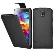 Samsung S5 Case Galaxy Cover Black PU Leather Flip