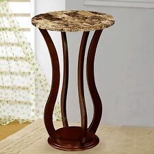 Round Pedestal Plant Stand Marble Top Side End Table Phone Lamp Wood Display
