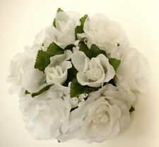 """3 WHITE Rose Candle Rings 3"""" Center Piece Artificial Silk Flowers 4005WT"""
