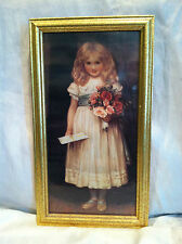 """2000 Framed Print-""""Love Letter""""Little Girl with flowers By Angel Gifts 8x14-1/2"""