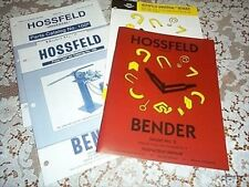 Hossfeld #2 Bender Manual,Tubing Bender Dies,Pipemaster