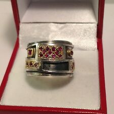 Rare & Unique KONSTANTINO Sterling Silver & 18k Yellow Gold Ruby Pave Ring. Sz 7