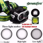 8000LM XM-L T6 2X LED Headlamp USB Rechargeable Headlight 18650 Head Light Torch