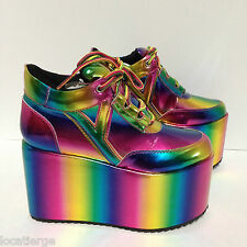 NEW! Women's YRU QOZMO LO Multi Color Rainbow Hologram Platform Sneaker - SZ: 6