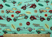 SNUGGLE FLANNEL *CLASSIC/VINTAGE CARS on GREEN 100% Cotton Fabric NEW BTY
