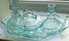 SOWERBY #2638 AQUA GLASS VANITY DRESSING TABLE TRAY 2 CANDLESTICKS 1 TRINKET SET