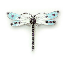 Gorgeous Amethyst Color Purple Crystal Dragonfly Pin Brooch B15