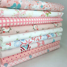 """new Beauty Pink 9 Assorted Pre Cut Charm 10"""" Squares Quilt Cotton Fabric"""