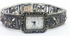 Sterling Silver Ladies Silver Watch With Marquisette Stones in Antique Finish