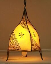 Attractive Moroccan table lamp. Yellow + henna designs Ethnic light
