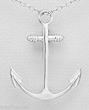 """1.22"""" Solid Sterling Silver Anchor Pendant 2.4g 31mm NAUTICAL"""