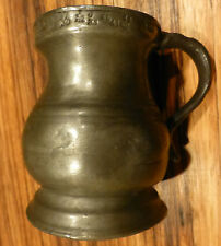 """Great Antique english one Gill Pewter tankard measure, 3"""" marked [Y8-W7-A9-E9]"""