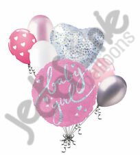 7 pc Baby Girl Pink Sparkles Balloon Bouquet Party Decoration Welcome Shower