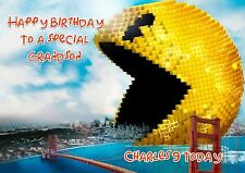 Personalised birthday card Pixels Pacman daughter son grandson v