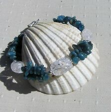 "Apatite & Crackled Clear Quartz Crystal Gemstone Bracelet ""Javan Dew"""