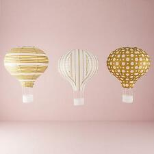 3 Hot Air Balloon Gold & White Paper Lantern Wedding Decoration Party Supplies