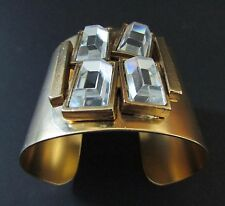 Gerard Yosca Gold Plated  Large Crystal Studded Cuff Bracelet