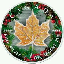 CANADA 2016 MAPLE LEAF WINTER 1 Oz SILVER COLOR COLORED MINTAGE 100 PCS COA BOX.