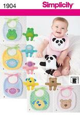 SIMPLICITY SEWING PATTERN BABY BIBS & 6 1/2 (16.5CM) STUFFED ANIMALS OS 1904